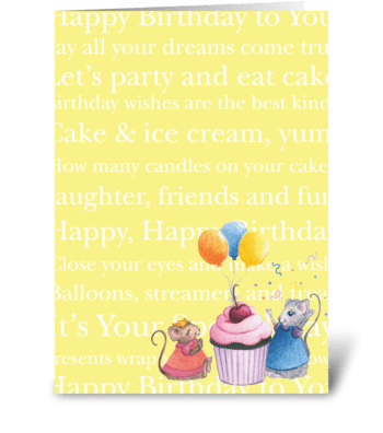 Happy Birthday Mice greeting card