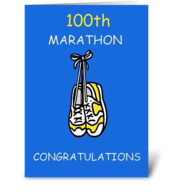 100th marathon congratulations. greeting card