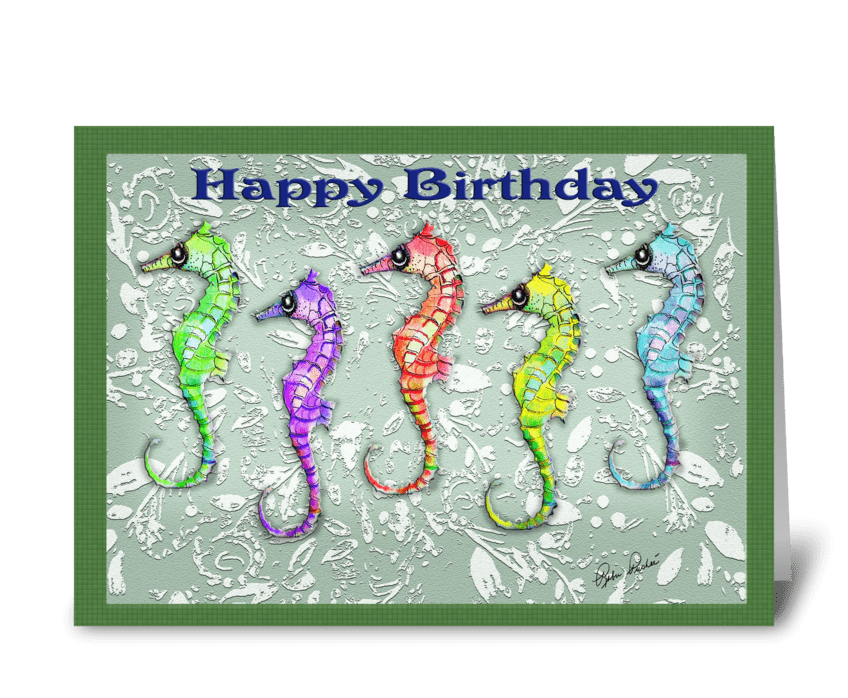 5 Colorful Sea Horses, Birthday ART greeting card