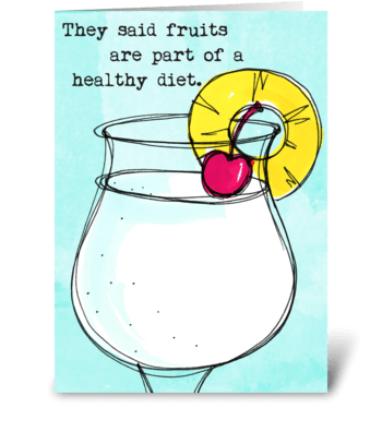 Diet Drinks Fruits greeting card