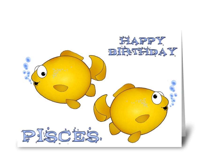 Pisces Happy Birthday greeting card