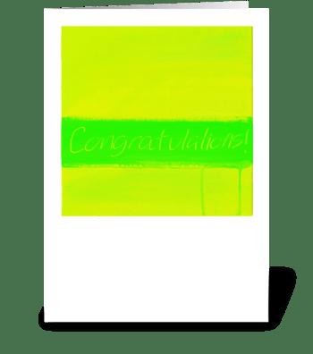Congratulations Painting-Yellow & Green greeting card