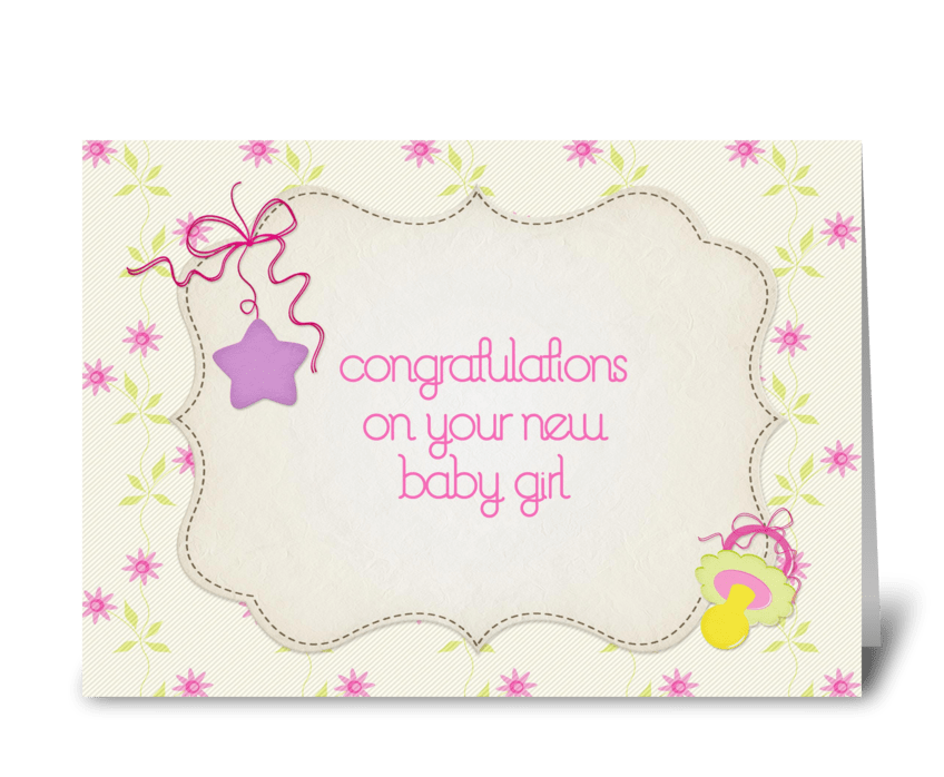 Pink flowers star baby girl congrats send this greeting card pink flowers star baby girl congrats greeting card m4hsunfo