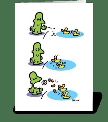 Man feeds Ducks, Ducks feed Man. greeting card