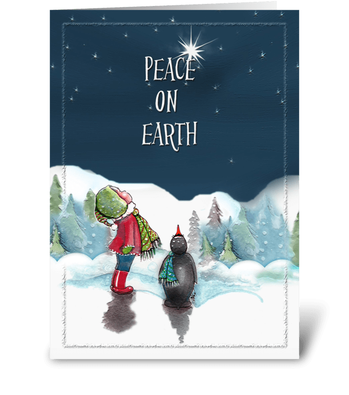 penguin, Peace on Earth greeting card