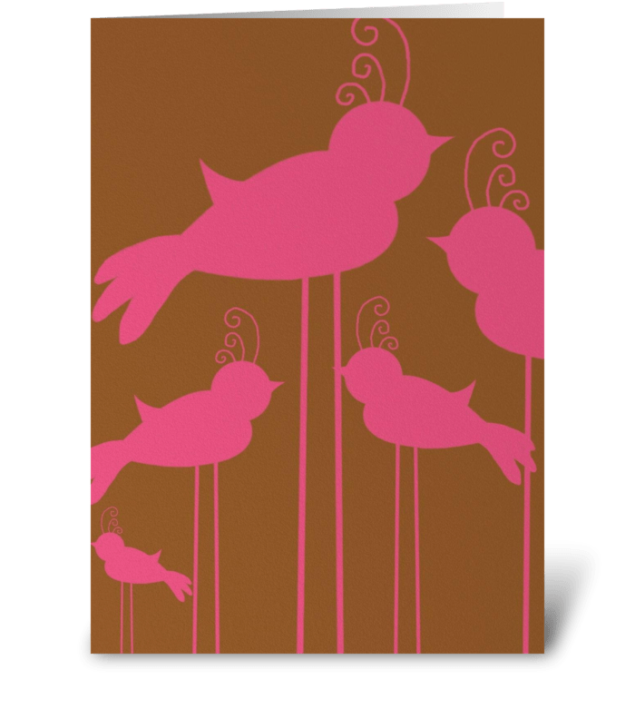 Pink Birds greeting card