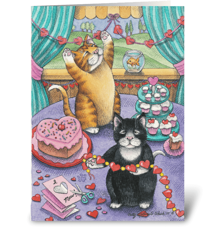 Valentine Cats #14 greeting card