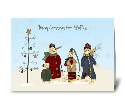 Snowmen Group, Winter Scene greeting card