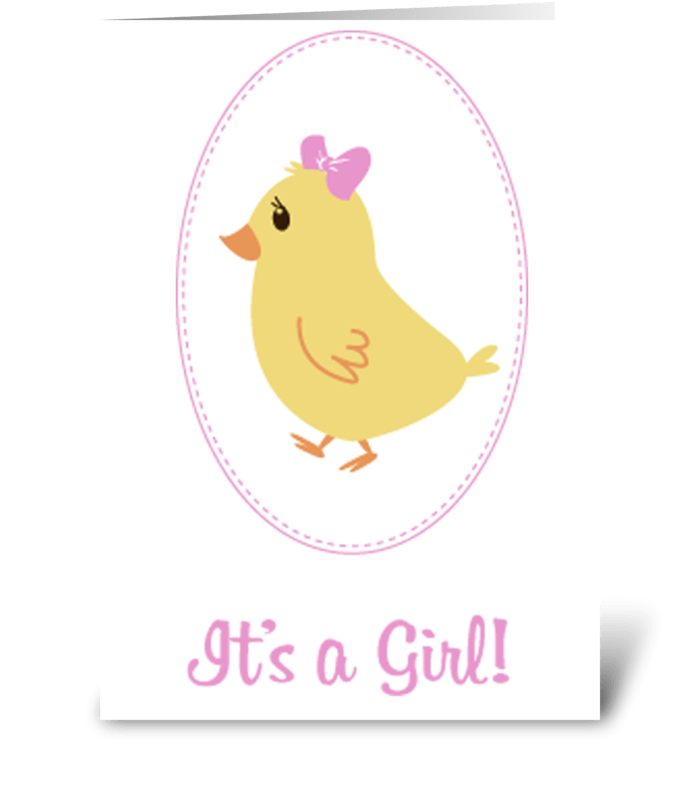 Little Girl Chick Baby Announcement greeting card