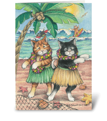 Luau Party Cats Invitation #10 greeting card