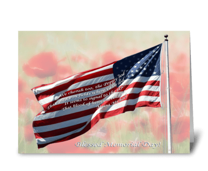 Flag and poppies greeting card