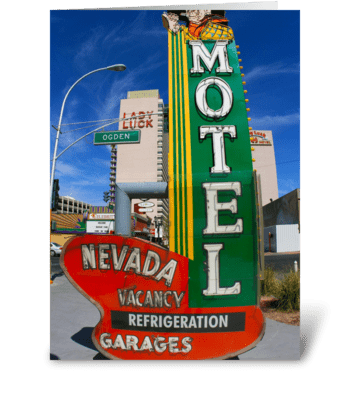 Motel Neon Sign greeting card