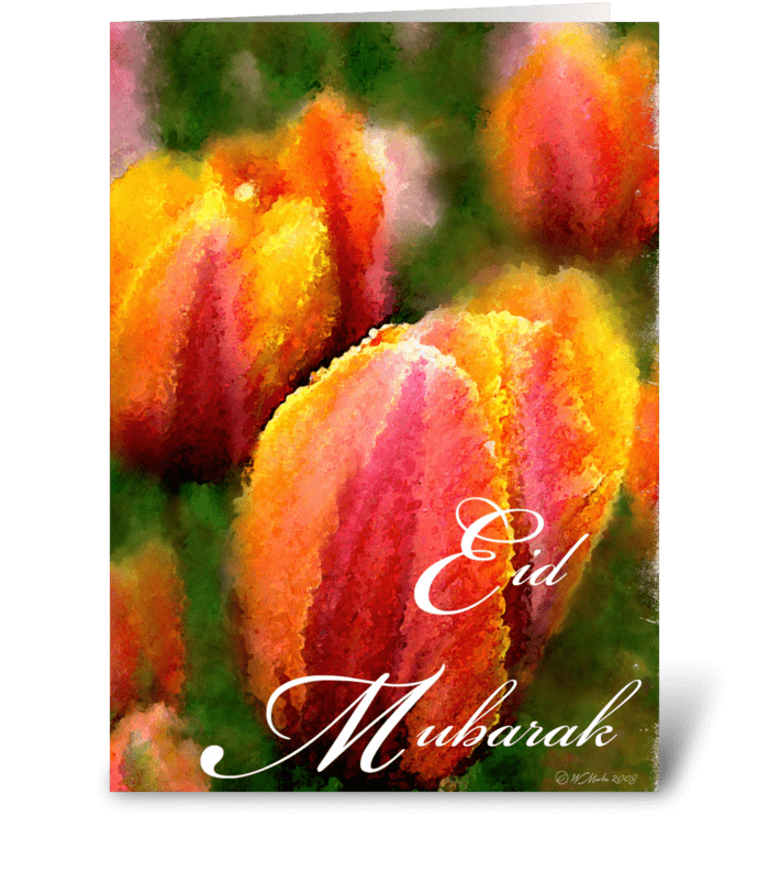 Tulip Flower Eid Mubarak Greeting Card greeting card