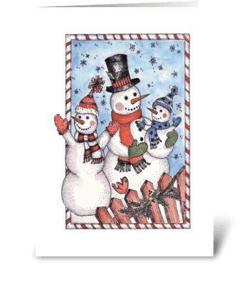 Festive Snowman Family greeting card