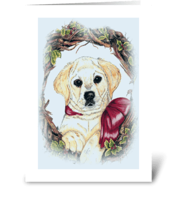 """Christmas Labrador puppy"" greeting card"