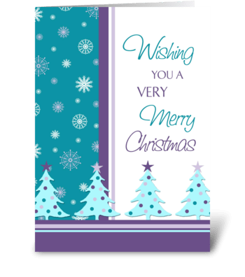Merry Christmas Snowflakes and Trees greeting card
