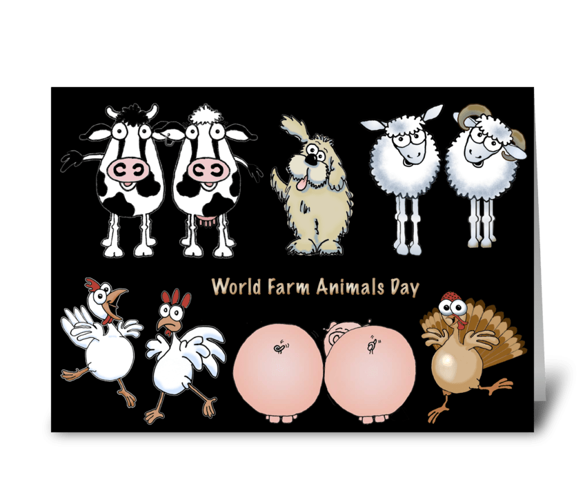 Cartoon Farm Animals greeting card