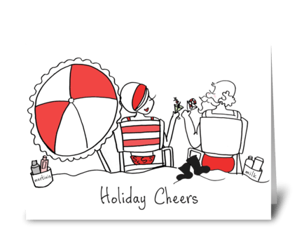 Santa and Sophie Holiday Cheers greeting card