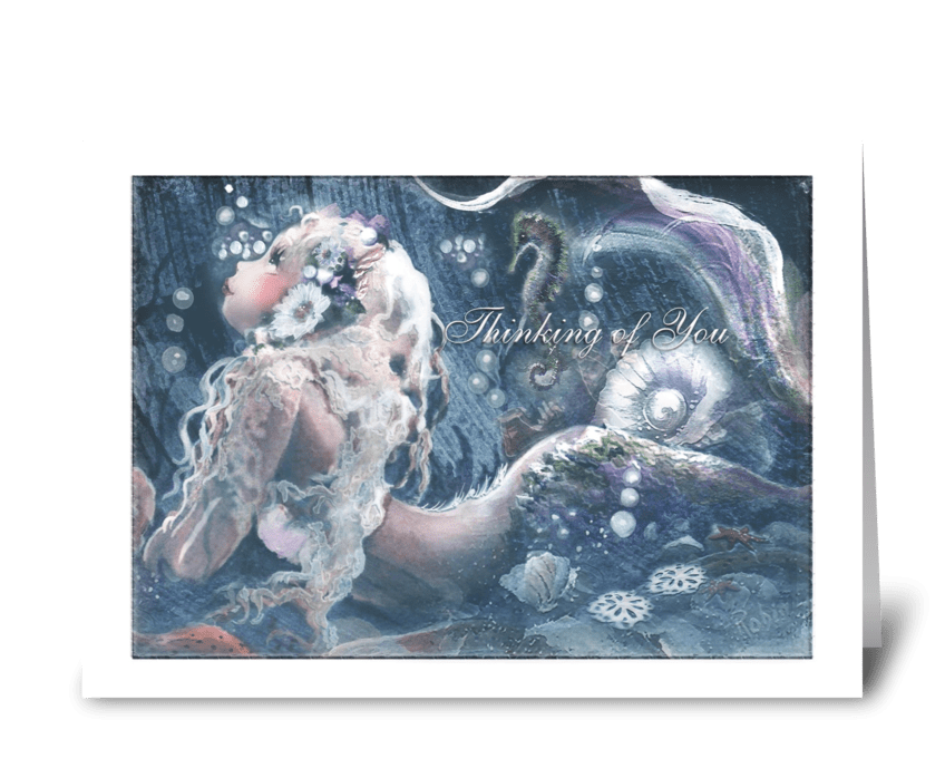 Mermaid Art, thinking of you greeting card