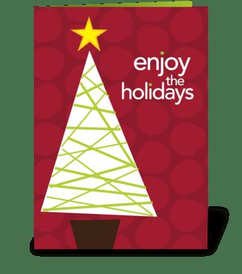 Mod xmas tree and stars greeting card