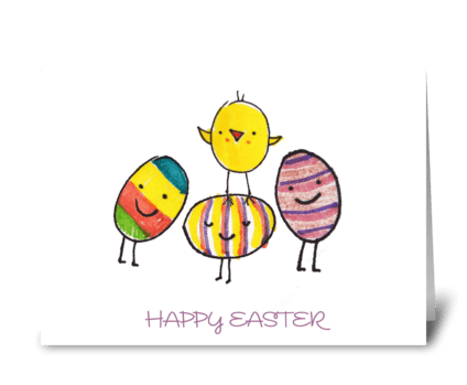 Happy Easter Eggs & Chick greeting card