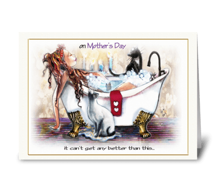 Mom Relaxes, Mother's Day Greeting, cats greeting card