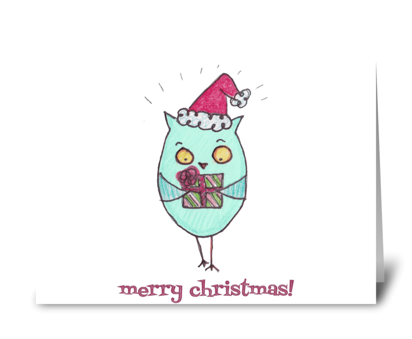 Merry Christmas Owl greeting card