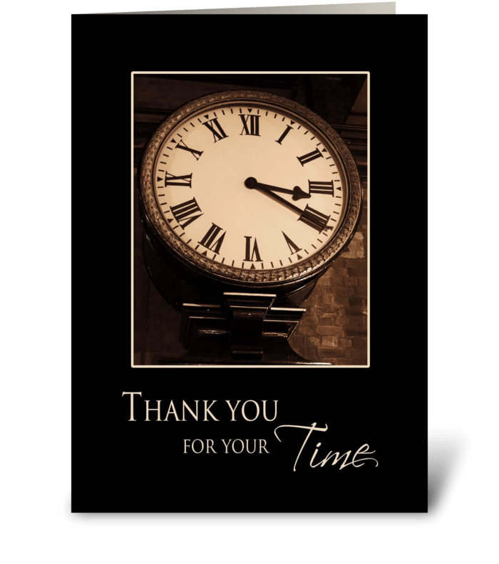 Thank you for your Time - Antique Clock greeting card