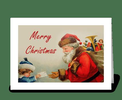 Vintage Letter To Santa greeting card