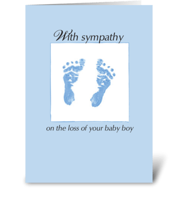 Sympathy Loss of Baby Boy, Footprints greeting card