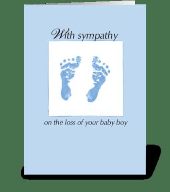 Sympathy Loss of Baby Boy, Footprints greeting card