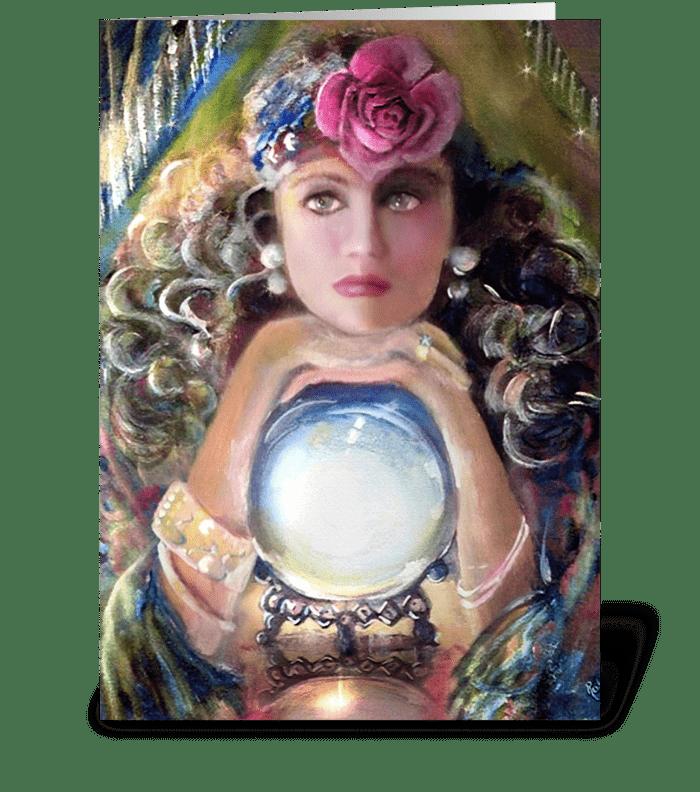Pretty Gypsy & Crystal Ball greeting card