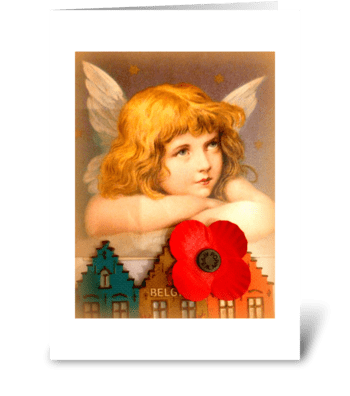Christmas Angel with Poppy greeting card