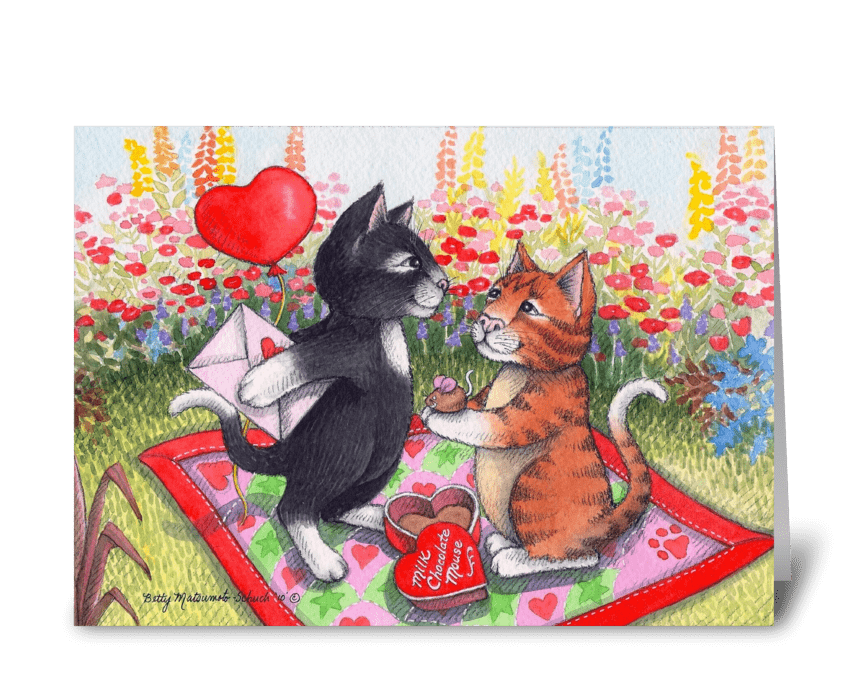 Be My Valentine Cats Garden #75 greeting card