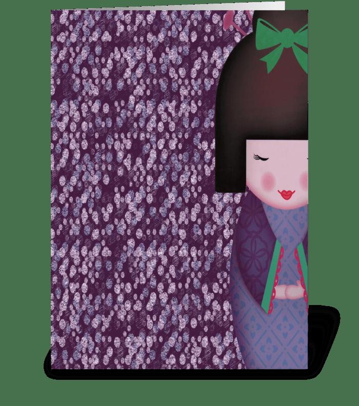 Little Geisha Purple greeting card