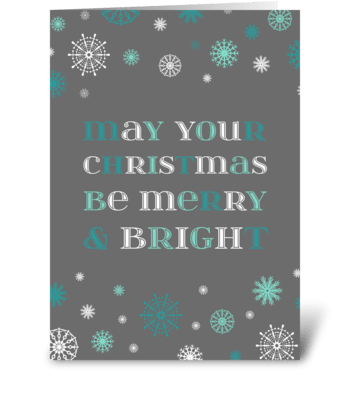 Grey Aqua Merry & Bright Christmas greeting card