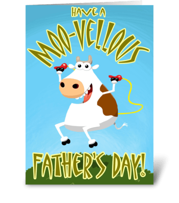 A Moo-vellous Father's Day greeting card