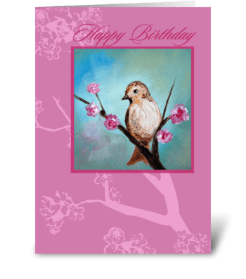 Happy Birthday, Bird & Cherry Blossom greeting card