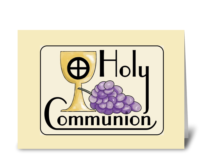 Communion Grapes and Cup greeting card