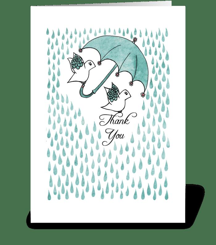 Thank You Birds under Umbrella greeting card