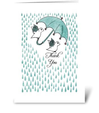 Thank You Birds under Umbrella greeting card