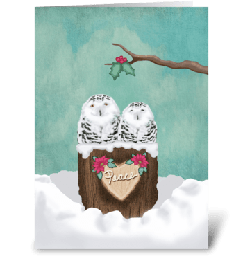 Snowy Peace Owls greeting card