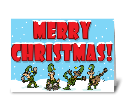 Musical Elves Christmas greeting card