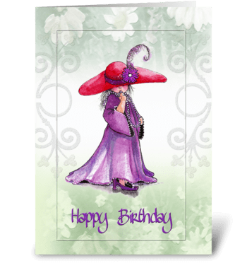 """little """"Red Hatter"""" Birthday Greeting greeting card"""