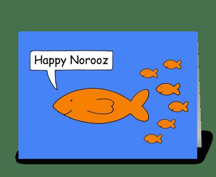 Happy Norooz Cartoon Goldfish family greeting card
