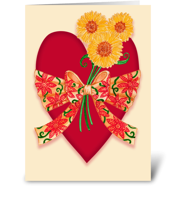Valentine Heart with Sunflowers & Bow greeting card