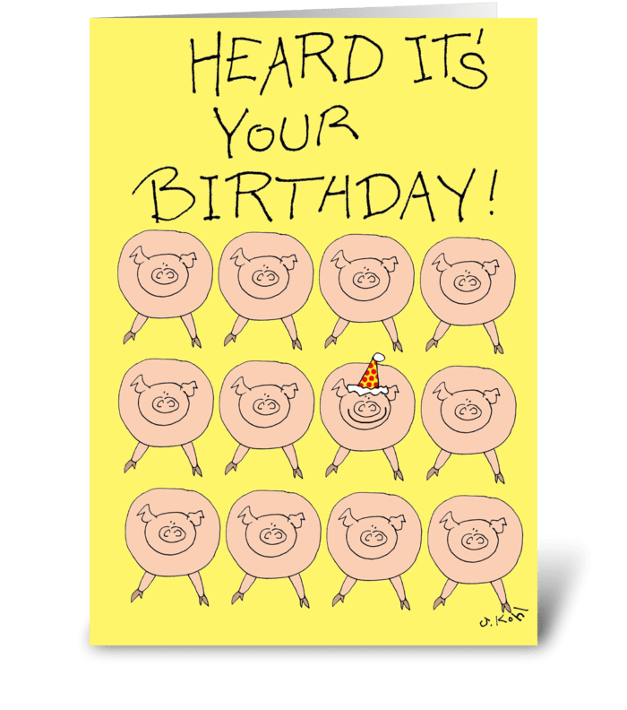 Squealed greeting card