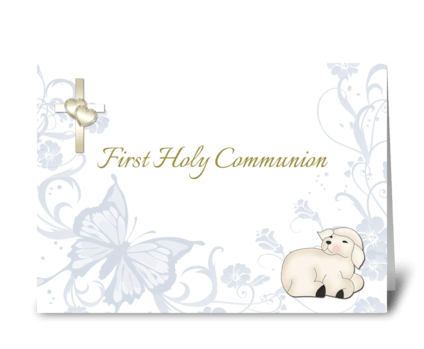 Baby Lamb Blue First Communion greeting card