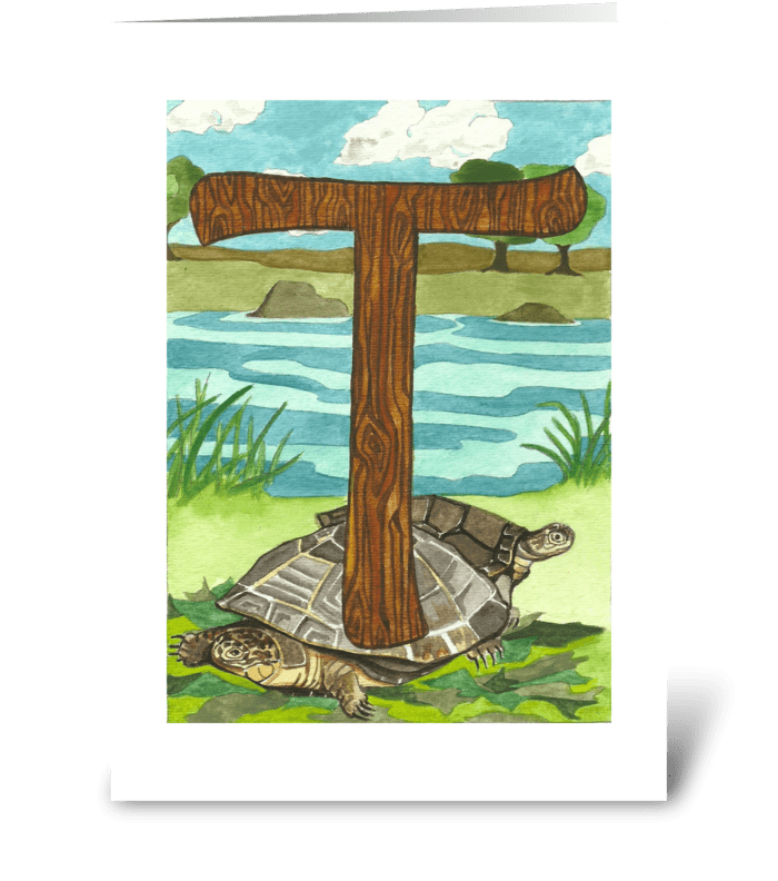 T for Turtle greeting card