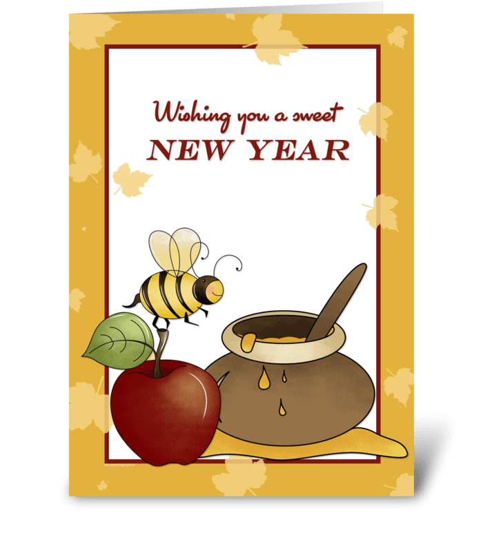 rosh hashanah apple bee and honey greeting card